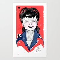 Pin up sketch portrait Art Print