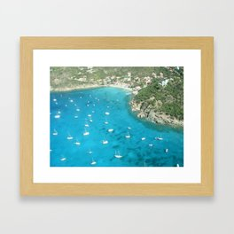 St Baarths boats aerial view Framed Art Print