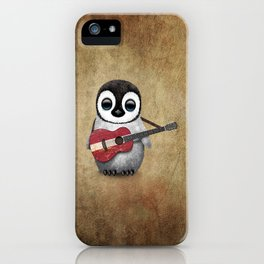 Baby Penguin Playing Latvian Flag Acoustic Guitar iPhone Case
