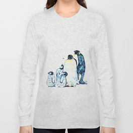 Penguin Family of 5 Watercolor Painting Long Sleeve T-shirt