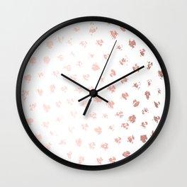 Rose Gold Pink Polka Splotch Dots on White Wall Clock