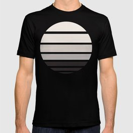 Grey Mid Century Modern Minimalist Circle Round Photo Staggered Sunset Geometric Stripe Design T-shirt