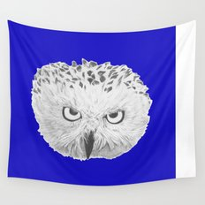 Snowy Owl Bright Blue Wall Tapestry