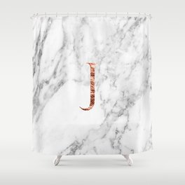 Monogram rose gold marble J Shower Curtain