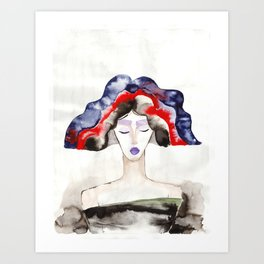 Margot With a Purple Lipstick Art Print