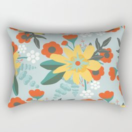 Seafoam Red and Yellow Floral Rectangular Pillow