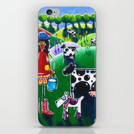 Moo Cow Farm Dairy Farmer Western Cowboy Boots Trees Cows Flowers Dog Milk Rancher Milking Bright iPhone Skin