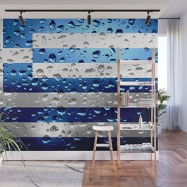 Flag of Greece - Raindrops Wall Mural