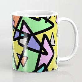 Triangulation - Geometric, pastel coloured abstract design, green, red, yellow, pink, blue Coffee Mug