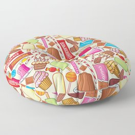 sweets seamless pattern (lollipop, candy cane, pudding in dish, birthday cake with candles) Floor Pillow