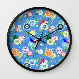 Whimsical Flowers & Birds in Bright Blue Wall Clock