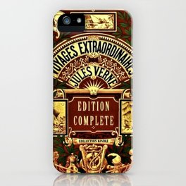 Jules Verne Voyages Extraordinaire Red Lithographic Print by Jeanpaul Ferro iPhone Case