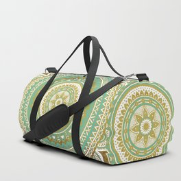 Teal and Gold Mandala Duffle Bag