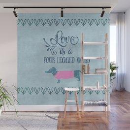 Dog Love four legged word Wall Mural