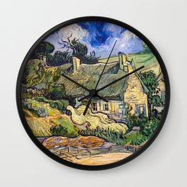 Vincent Van Gogh - Thatched Cottages at Cordeville Wall Clock