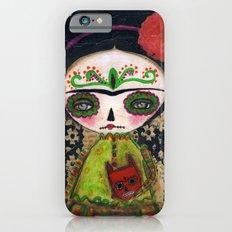 Frida The Catrina And The Devil - Dia De Los Muertos Mixed Media Art iPhone 6s Slim Case