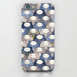 Find a cat in a parliament of owls (Art Deco Kawaii) iPhone Case