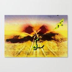 Snake ad bird in the desert Canvas Print