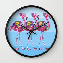 A Small Flock of Flamingos Wall Clock