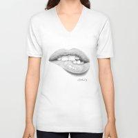 lip V-neck T-shirts featuring Desiderio / Desire - Lip Bite - Mouth by Giorgio Arcuri