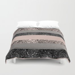 Blush Glitter Glam Stripes #1 #shiny #decor #art #society6 Duvet Cover