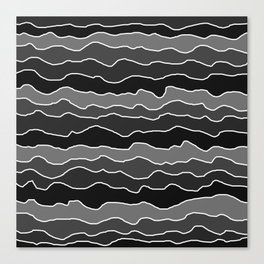Four Shades of Black with White Squiggly Lines Canvas Print