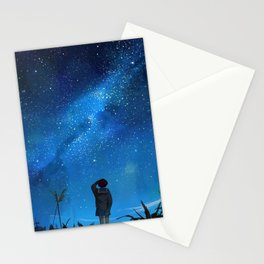 Anime Girl watching the stars Stationery Cards