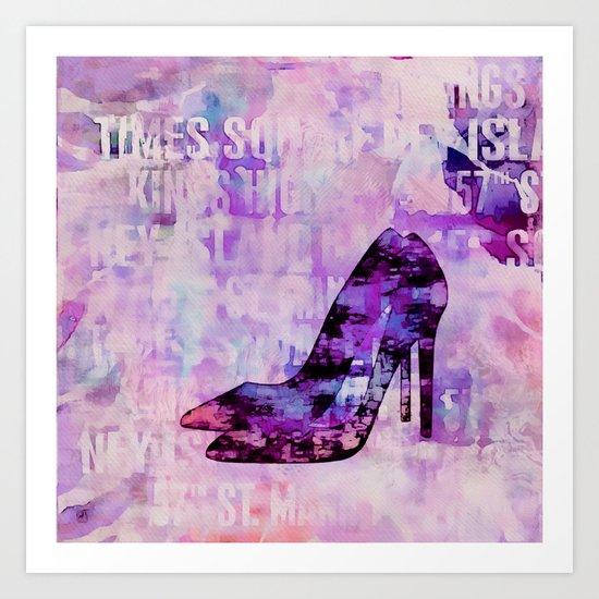 High heel female shoe watercolor art Art Print