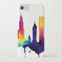 chicago map iPhone & iPod Cases featuring Chicago  by Talula Christian