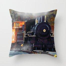 The Rail Yard  -  Steam Train Throw Pillow