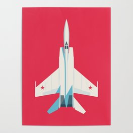 MiG-25 Foxbat Interceptor Jet Aircraft - Crimson Poster