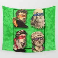renaissance Wall Tapestries featuring Renaissance Mutant Ninja Artists by Rachel M. Loose