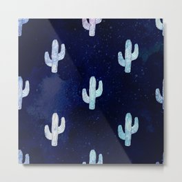 Cactus bloom - midnight blue Metal Print