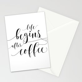PRINTABLE Art,Life Begins After Coffee,Coffee Sign,Coffee Print,Bar Decor,Restaurant Decor Stationery Cards