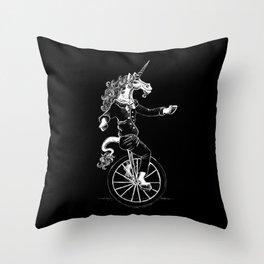 Unicorn on a Unicycle Throw Pillow