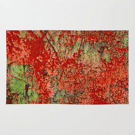 Abstract Red Rust on Green Paint Rug