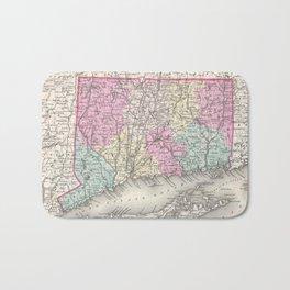 Vintage Map of Connecticut (1857) Bath Mat