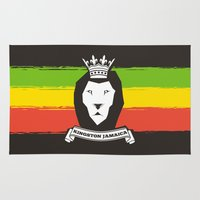 rasta Area & Throw Rugs featuring Rasta Lion by Awesome