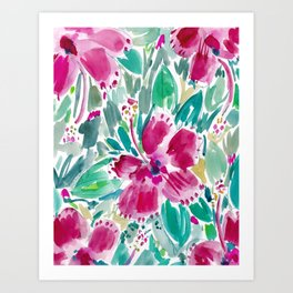 HOLIDAY HIBISCUS Painterly Floral Art Print