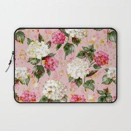 Vintage green pink white bohemian hortensia flowers Laptop Sleeve