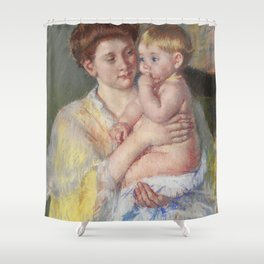 Baby John with Forefinger in His Mouth (1919) by Mary Cassatt Shower Curtain