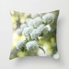 White Hydrangea at beautiful backlight- Flowers Floral Throw Pillow