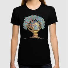 Live Simply, Love Trees Womens Fitted Tee SMALL Black