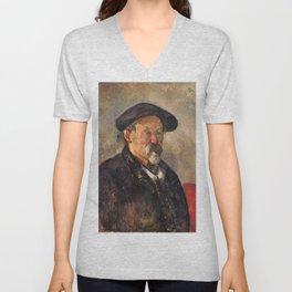 Paul Cézanne - Self-Portrait with a Beret Unisex V-Neck