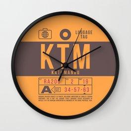 Baggage Tag B - KTM Kathmandu Tribhuvan Nepal Wall Clock