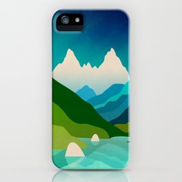 High mountain peaks over lake iPhone Case