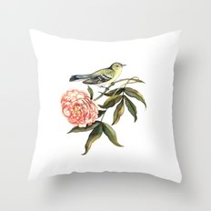 Watercolor illustration with bird and flower Throw Pillow