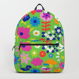60's Country Mushroom Floral in Neon Green Backpack