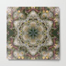 Beautiful white gum blossom mandala Metal Print