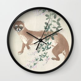 Weasel and the flowers - Vintage Japanese Woodblock Print Art Wall Clock